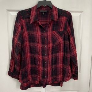 Lane Bryant Red & Black Checker Button-Down 18/20